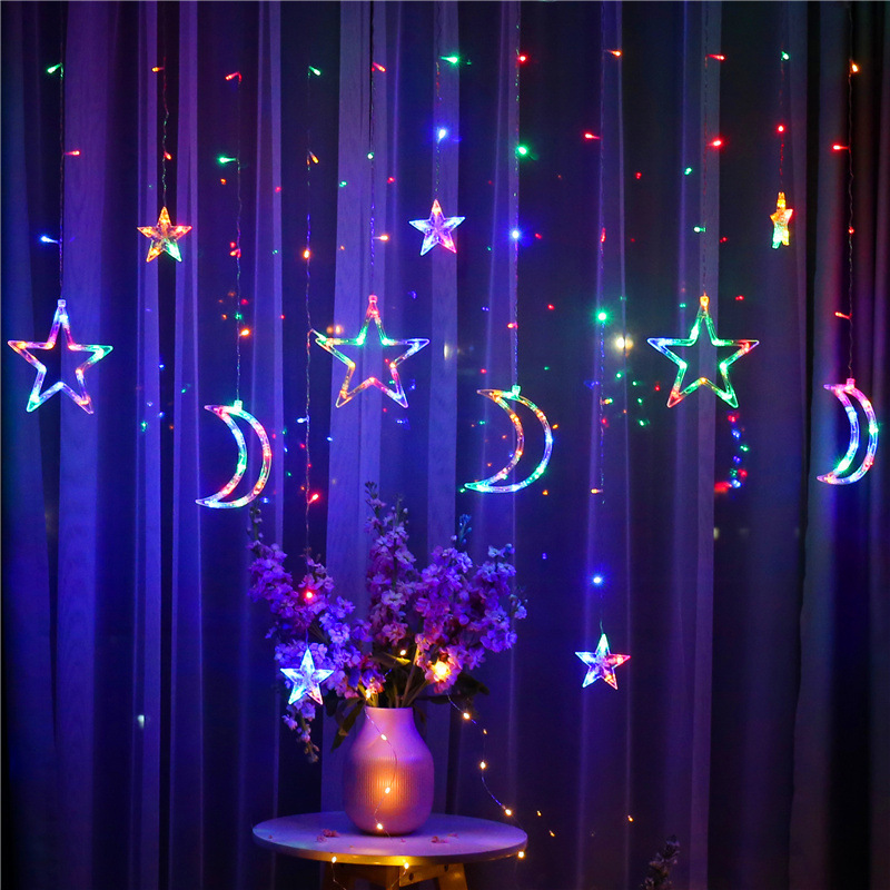 LED Curtain Moons Stars Christmas Lights 3.5M Fairy Curtain String Light Remote Control Wedding Bedroom New Year's Decor Lights
