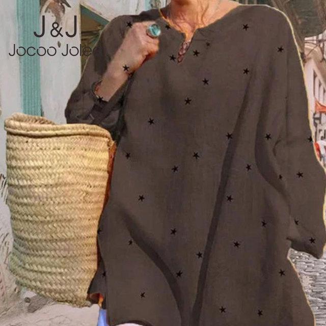 Jocoo Jolee Long Sleeve V Neck Stars Print Loose Blouse Casual Oversized Shirt 2020 New Elegant Tops Ladies Clothing 1
