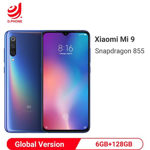 Globale Versione Xiao mi mi 9 mi 9 6GB 128GB Snapdragon 855 48MP Triple macchina FOTOGRAFICA AMOLED Del Telefono Mobile impronte digitali di Ricarica Senza Fili NFC