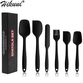 6 Pcs Spatula Sets BPA Free Silicone Scrapers Spoon Non-Stick Silica Cake BBQ Heat Resistant Flexible Scraping Baking Tools