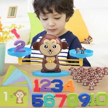 Montessori early education Toy Match Game Animal Board Toys Monkey Puppy Balancing Scale Number Balance Games for Baby Gifts flyingtown montessori teaching aids balance scale baby balance game early education wooden puzzle children toys