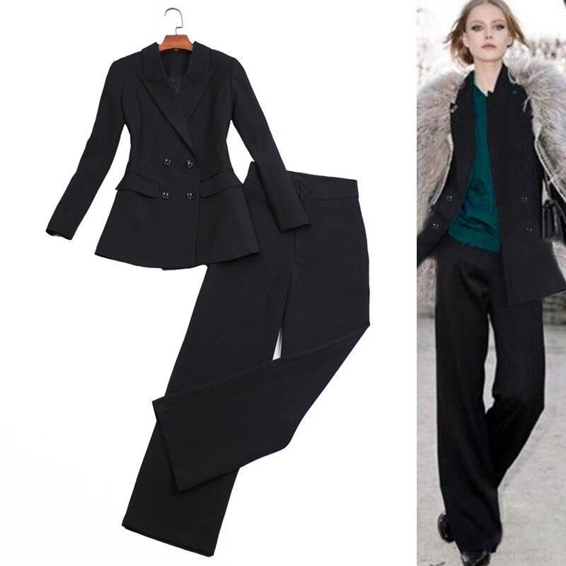 Mode pantalon costume femmes élégant affaires porter bureau dames travail formel Double boutonnage Blazer veste + pantalon deux pièces ensemble