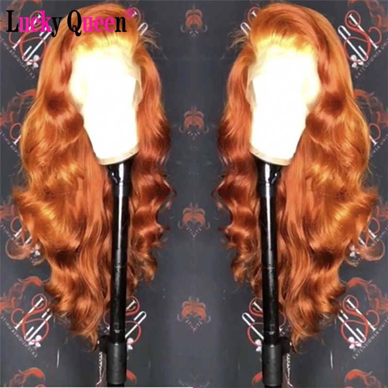 Orange Ginger Glueless 13x6 Lace Front Human Hair Wigs With Strap Lace Frontal Wigs Brazilian Body Wave 100% Human Hair Remy