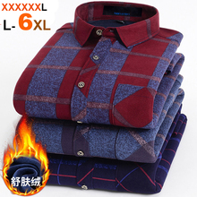 NIGRITY Autumn Winter Mens Long Sleeve Plaid Warm Thick Fleece Lined Shirt Fashion Soft Casual Flannel Shirt Plus Big Size L 6XL
