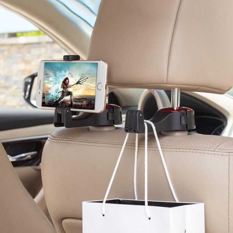 Adjustable Car Headrest Hooks Mobile Stand & Magnetic Car Phone Holder Fastener Seat Back Hanger Clips For Bag Handbag Houseware
