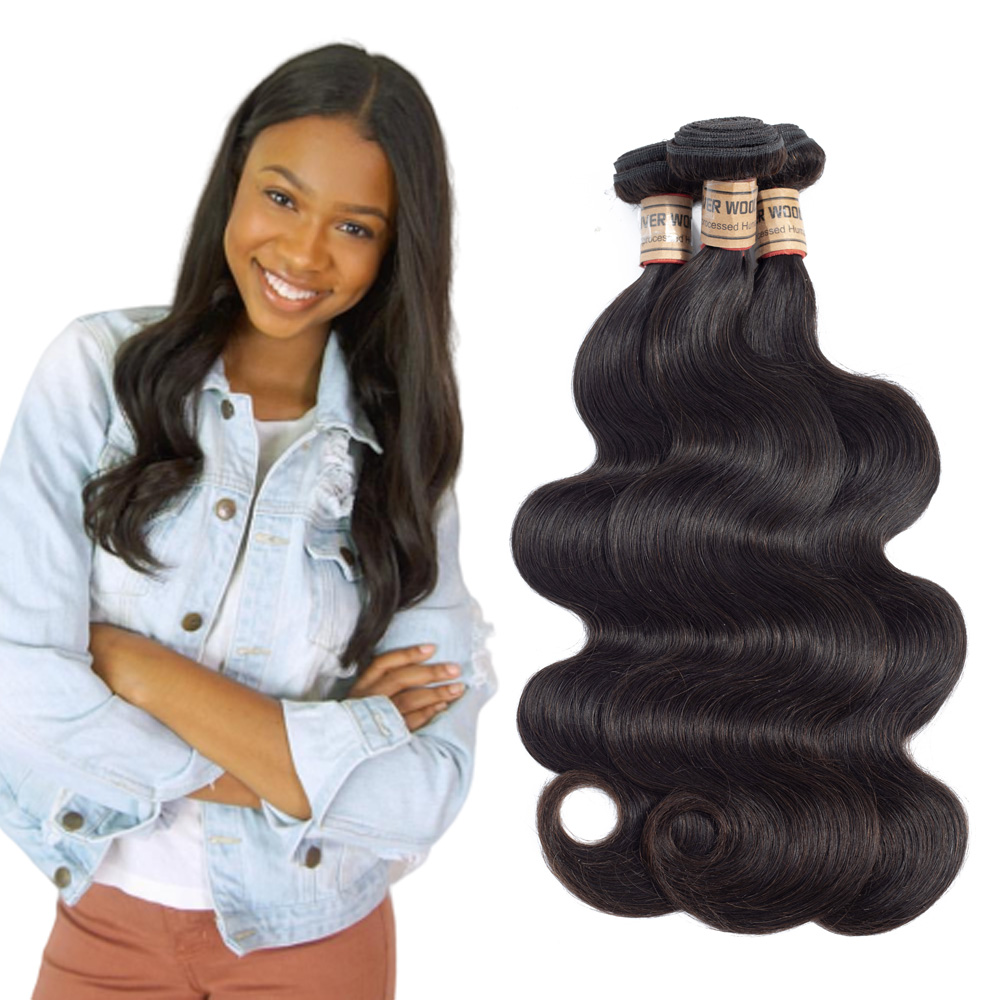 Wet And Wavy Hair Bundles Peruvian Body Wave Human Hair 3 Bundles Natural Color Can Be Dyed And Bleached 8-28Inch
