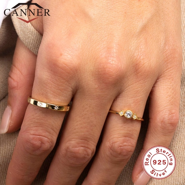 CANNER 925 Sterling Silver Rings for Women Cute Zircon Round Ring 925 Silver Wedding Fine Jewelry Minimalist Gift anillos 3