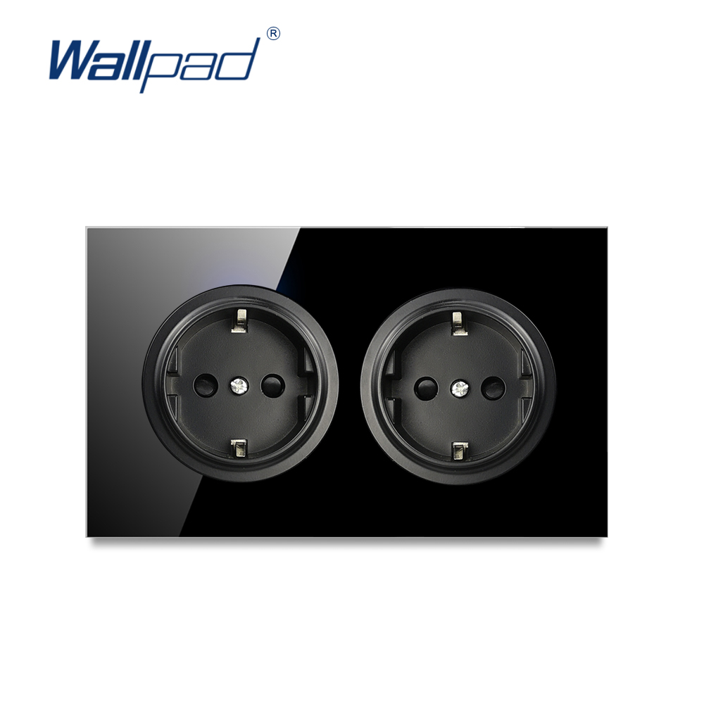 Wallpad L6 Double EU German Electric Wall Socket 146 Size Power Outlet Black Tempered Glass Panel