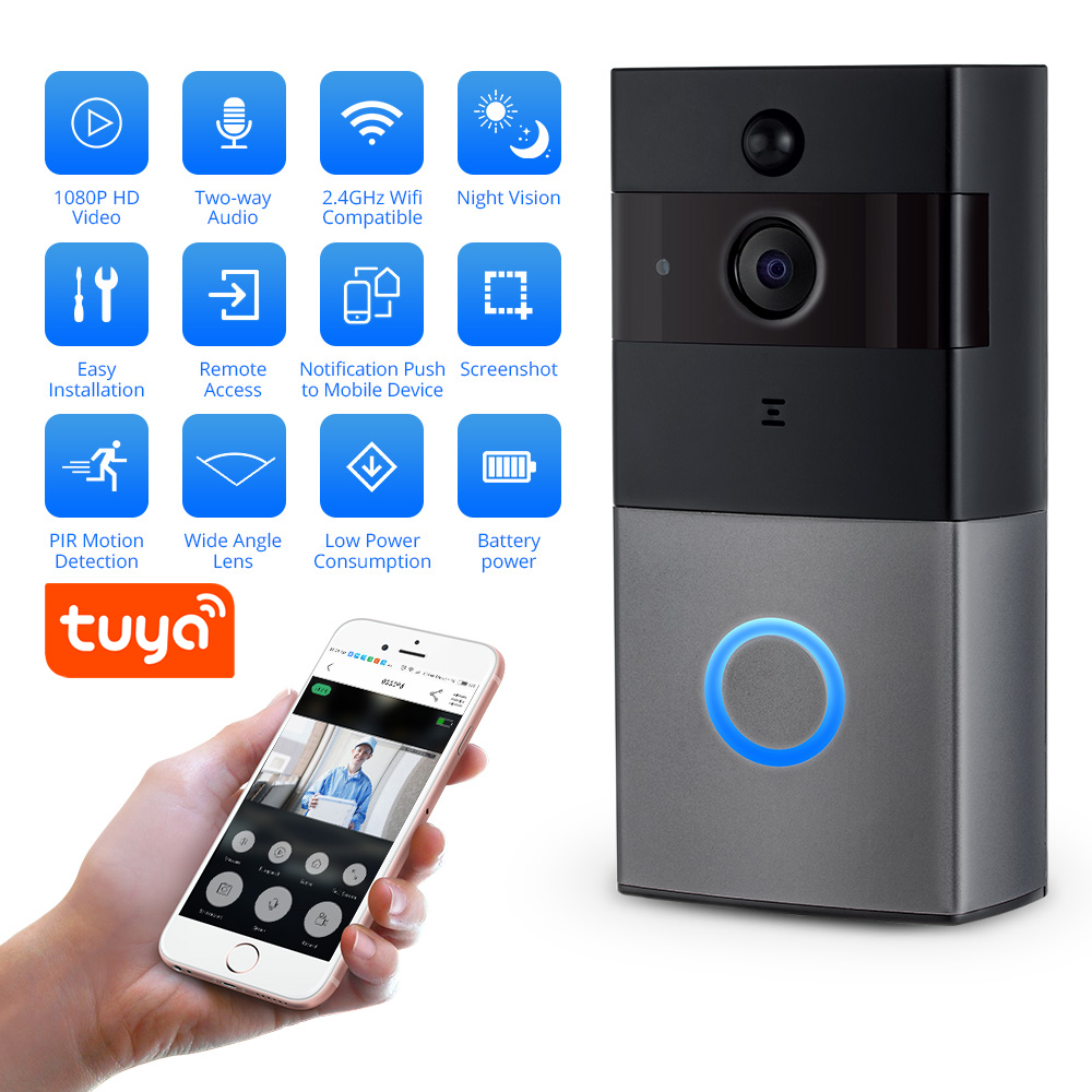 Fuers Tuya APP Wireless Video Doorbell WIFI 1080P Camera Intercom Doorbell For Apartment IR Alarm Security Camera Night Vision