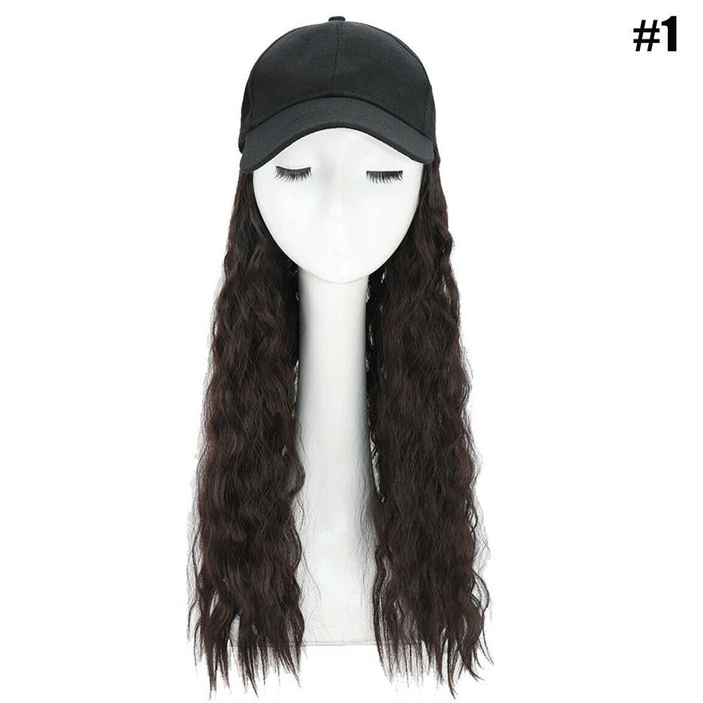 Hot Baseball Cap with Synthetic Hair Extension Long Hair Wig Hat for Women MP789