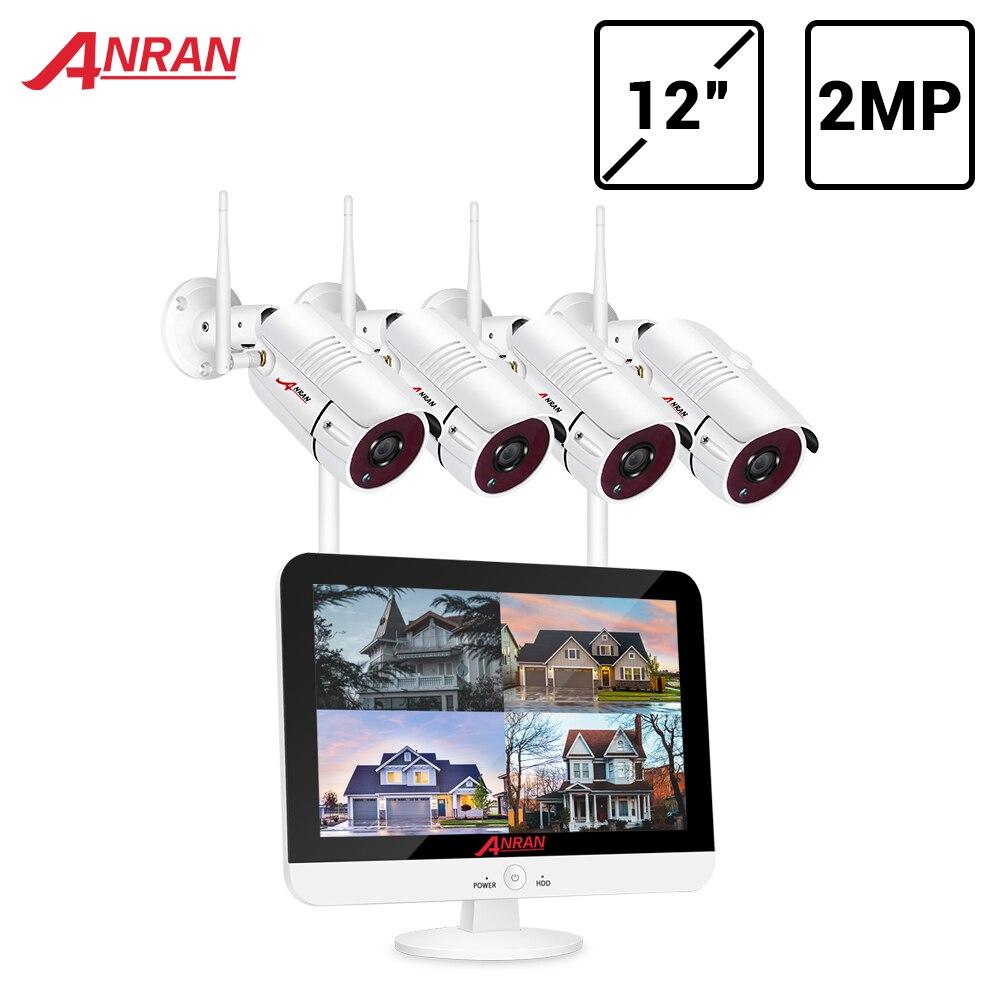 ANRAN וידאו מעקב ערכת 1080P WIFI CCTV מערכת 12-אינץ צג NVR CCTV מצלמה אבטחת מערכת עמיד למים ראיית לילה אפליקציה