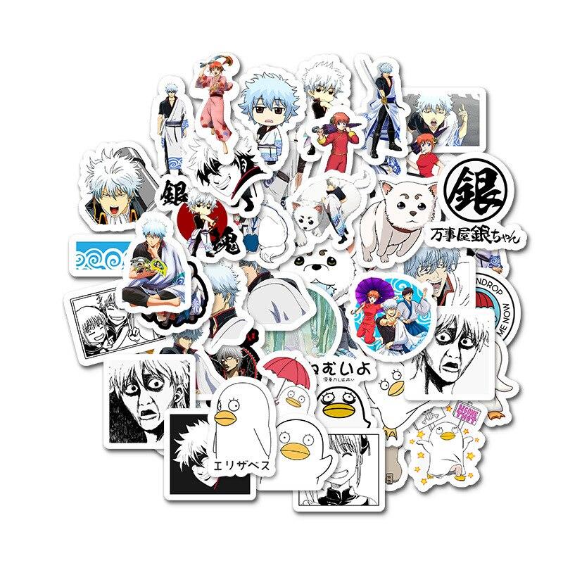 50 Pcs/lot Funny GINTAMA Stickers Kids Classic Toys Takasugi Shinsuke Cartoon Anime DIY Bus ID Card Stickers Boy Girl Gifts Toys