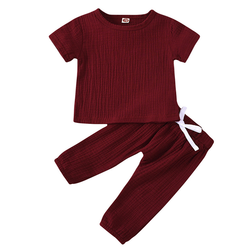 Infant Baby Boys Girls Clothes Pure Color Cotton Linen Short Sleeve Tops+Pants Summer Toddler Baby Boys Girls Clothing Outfit 5