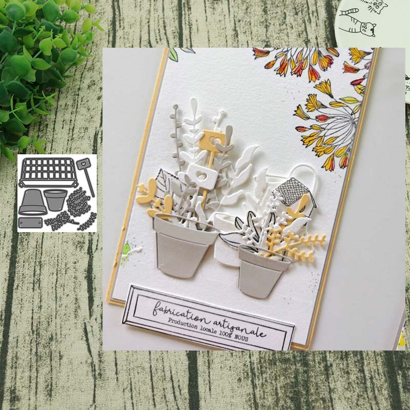 Metal cutting dies Potted plant cut die mold decoration Scrapbooking paper craft mould punch stencils(China)