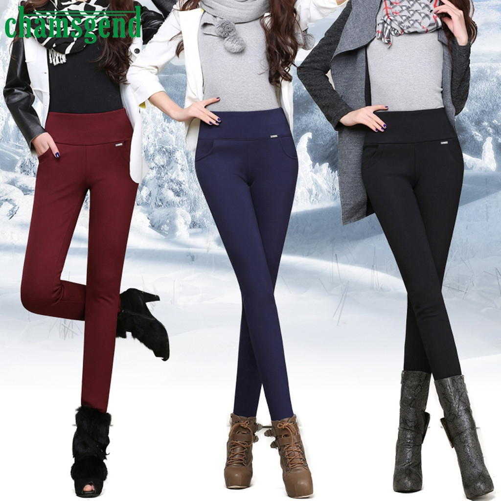 CHAMSGEND pencil pants women 2020 new casual Elastic High Waist Skinny Trousers Keep warm in winter Slim Fit Stretch Pants #4z