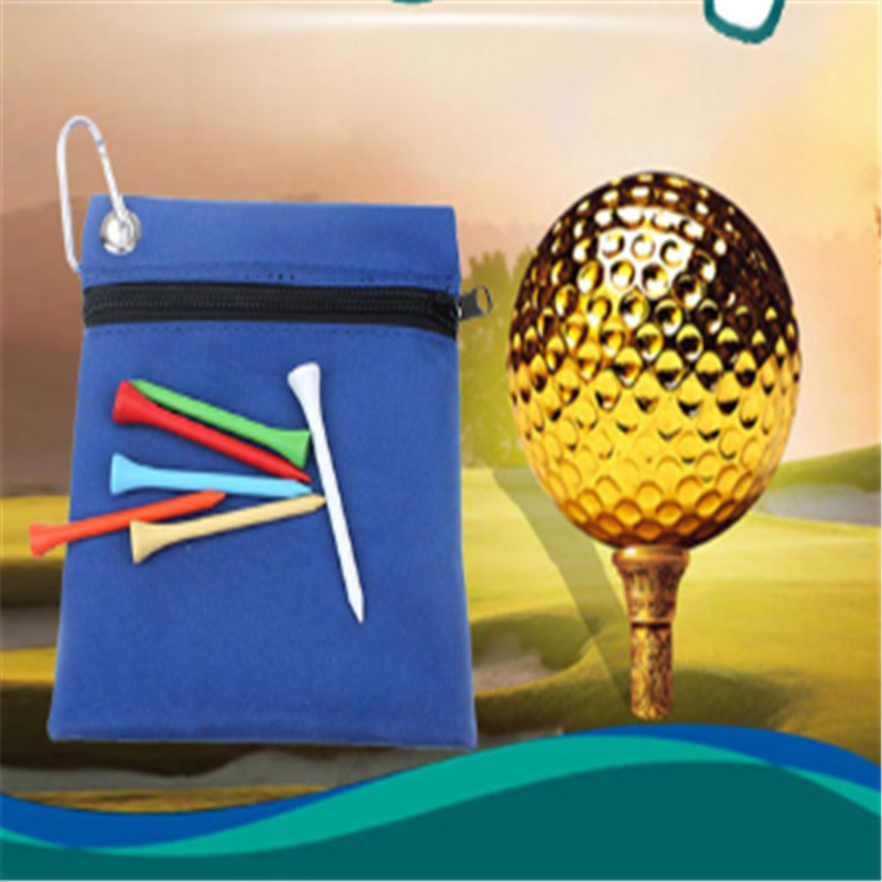 Zippered Golf Tee Ball Bag Nylon Storage Bag Holder With Carabiner Golfing Accessories Hot Sale