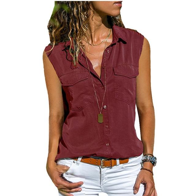 2021 Summer Casual Blouse Women Top And Blouse Women Shirt Sleeveless Button Pocket Black Solid Turn-down Collar Shirt 6