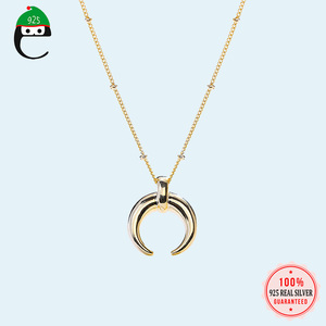 Gold Moon Necklace 925 Sterlin
