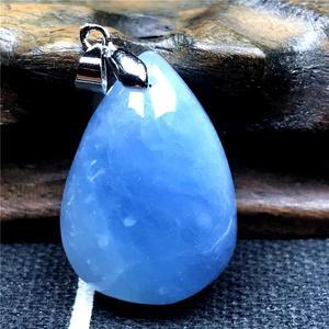 Image 5 - Natuurlijke Blauwe Aquamarijn Hanger Voor Vrouw Lady Crystal 27X19X10 Mm Edelsteen Clear Kralen 925 Zilveren Ketting hanger Sieraden Aaaaa