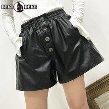 Brand Sheepskin Wide Leg A-Line Shorts Women Slim Elastic Waist Black Casual Shorts Autumn Winter Real Leather Office Lady Short