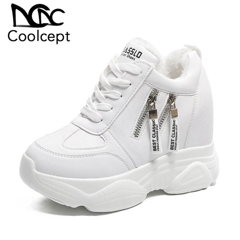 Coolcept Women Sneakers Winter Plush Fur Wedges Platform Shoes Women Fashion Zipper Lace Up Outdoor Player Footwear Size 35-39
