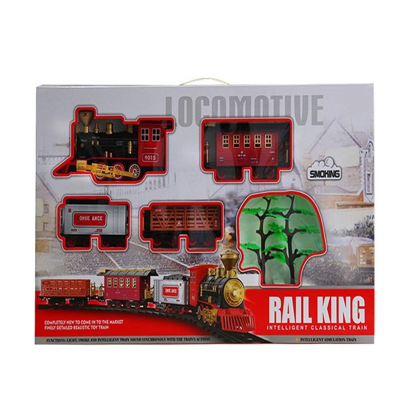 Electric Model Retro Rail Car Smoke Music Train Model Children'S Educational Toy Boy Christmas Gift