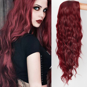 MISS queen Ombre Wavy Wigs Black Brown Blonde Middle Part Cosplay Synthetic Wigs with For Women Long Hair Wigs Fake Hair