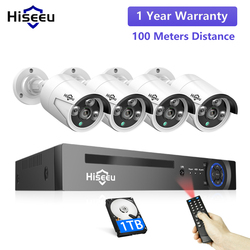 Hiseeu H.265 8CH 5MP POE Sicherheit Überwachung Kamera System Kit AI Gesicht Erkennung Audio Record IP Kamera IR CCTV Video NVR Set