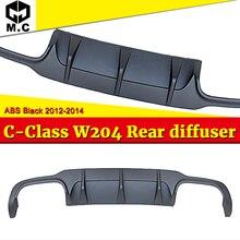 Fits For Benz W204 rear diffuser ABS Material No hole Black bumper lip C Class C180 C200 C250 Look 12-14