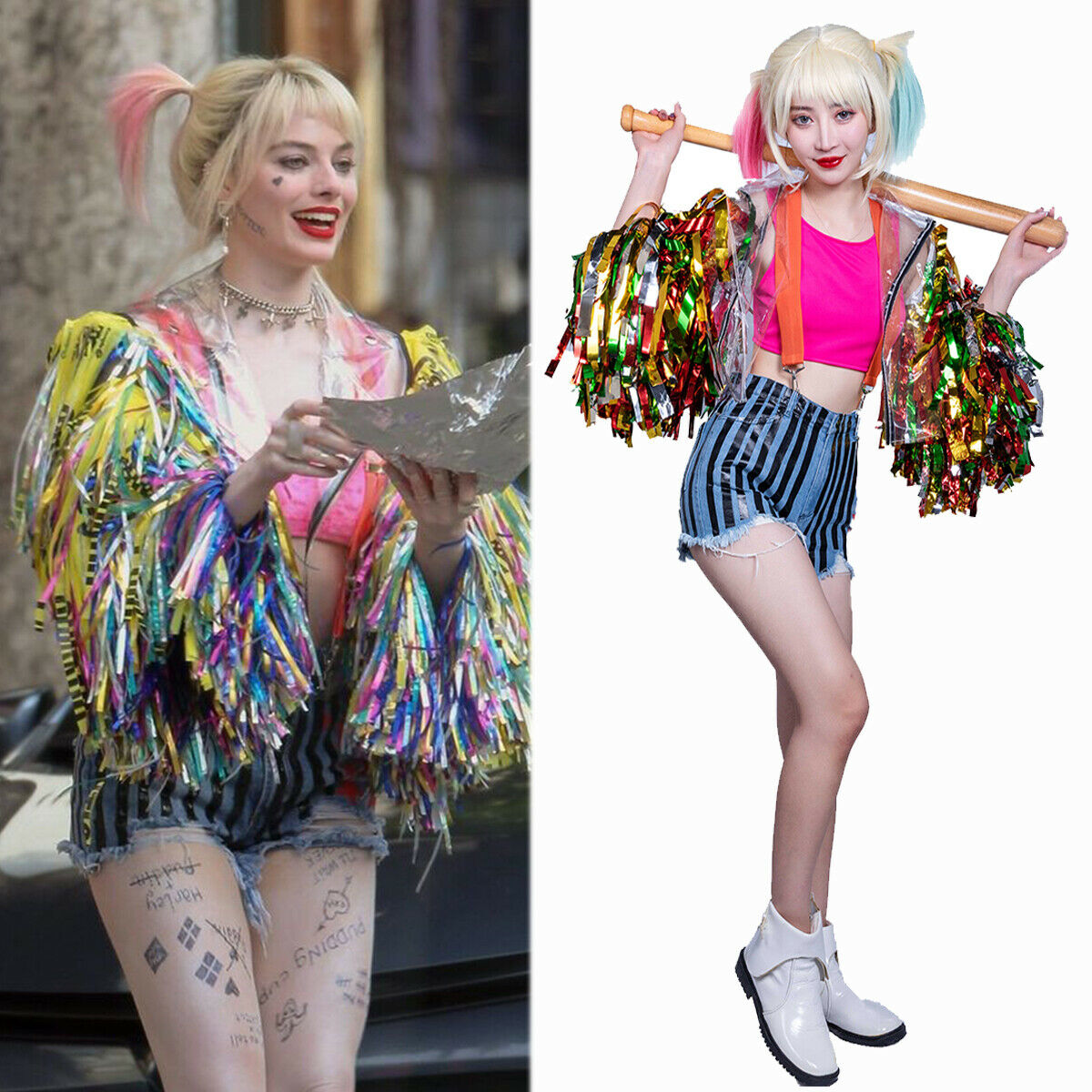 Dc Comics Harley Quinn 1 Set Cosplay Costumes Birds Of Prey Wig Movie Replica Outfit Jeans Cosplay Props Women 2020 New Movie Tv Costumes Aliexpress