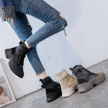 Pig Skin with Canvas Shoes 13.3cm High Heel Women Military Shoes Ankle Military Boots Autumn(China)