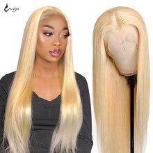 Perruque Lace Front Wig 613 brésilienne naturelle – Uwigs, cheveux lisses, blond miel, Transparent, pour femmes