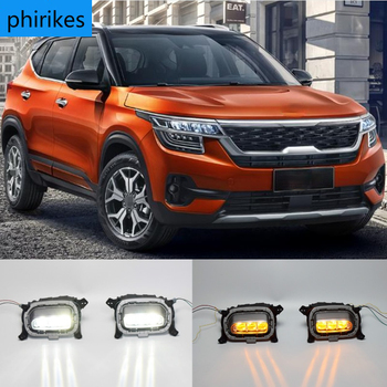 Włącz żółty sygnał przekaźnika 12V samochodów DRL lampa światła do jazdy dziennej LED dla Kia Seltos KX3 2020 2021 tanie i dobre opinie phirikes CN (pochodzenie) Do światła dziennego 12 v