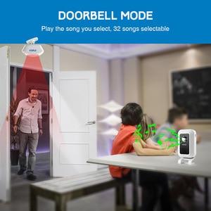 Image 3 - KERUI אלחוטי חנות חנות בברכה דלת כניסה חכם פעמון עם כפתור וילונות אינפרא אדום Motion גלאי דלת אזעקה