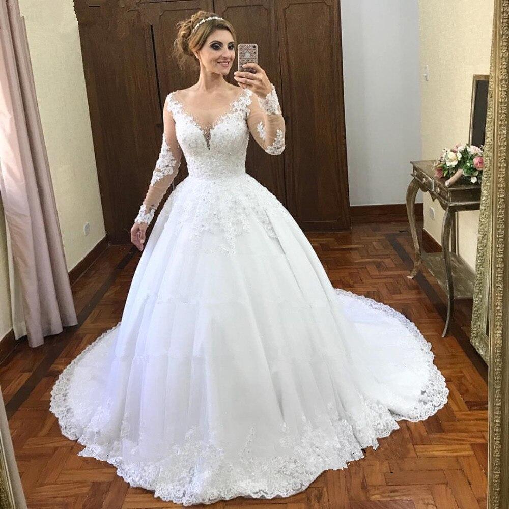 Vestido De Noiva 2020 Illusion Ball Gown Wedding Dresses Long Sleeve Wedding Dress Lace Appliques Beads Robe De Mariee Casamento