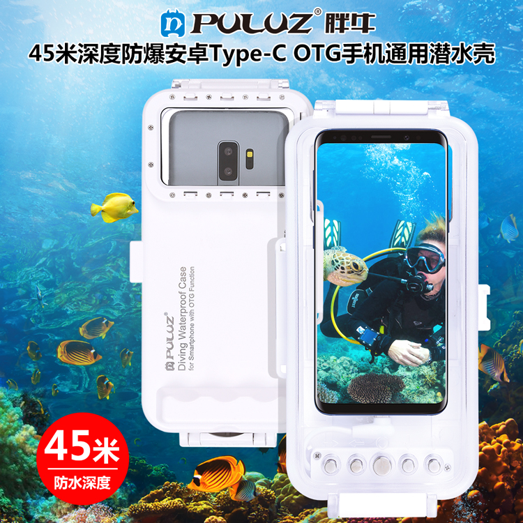45m Waterproof Diving Housing Photo Video Taking Underwater Cover Case for Google Android OTG Smartphones with Type-C Port