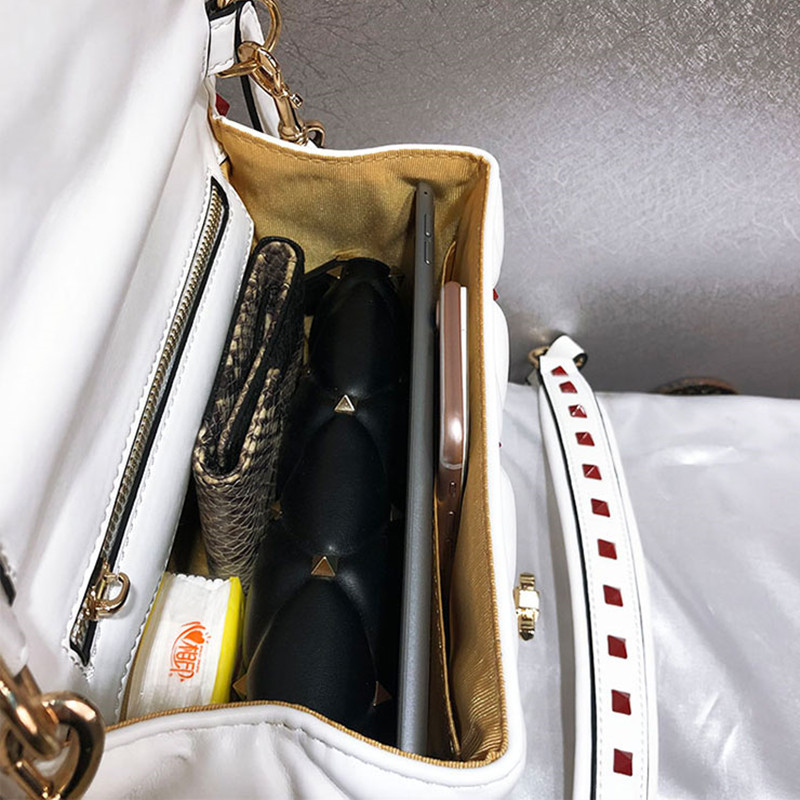 Berühmte Designer Hohe Qualität Echtes Leder Frauen Handtaschen Luxus Mode Niet Brief Design Schulter Messenger Tasche Sac EIN Haupt - 4