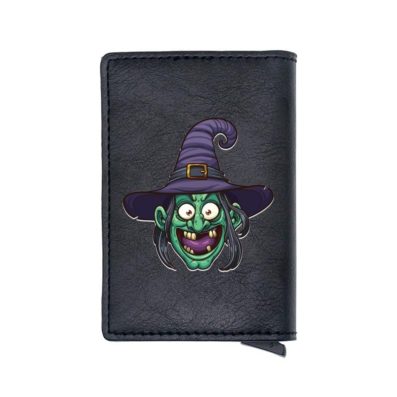 2020 New Fashion Halloween Witch Digital Printing Pu Leather Card Holder Men Women Wallet
