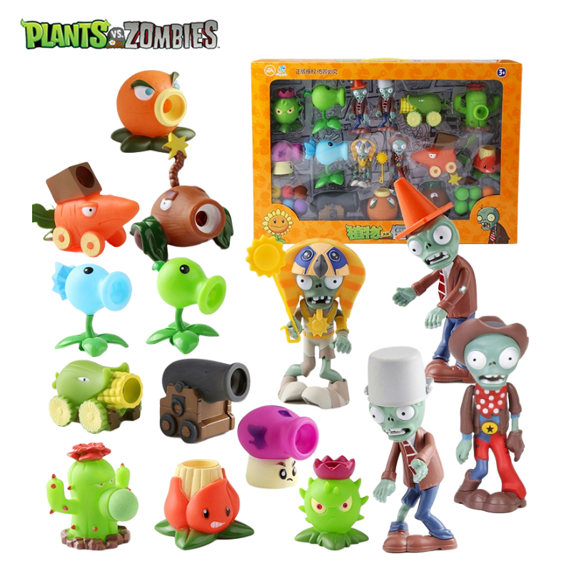 Genuine 15 Pack Plants vs Zombies 2 Catapult Toys Boys Game Toy Set Soft Anime Figure Tabletop Battle Game Model Dolls Kid Gifts