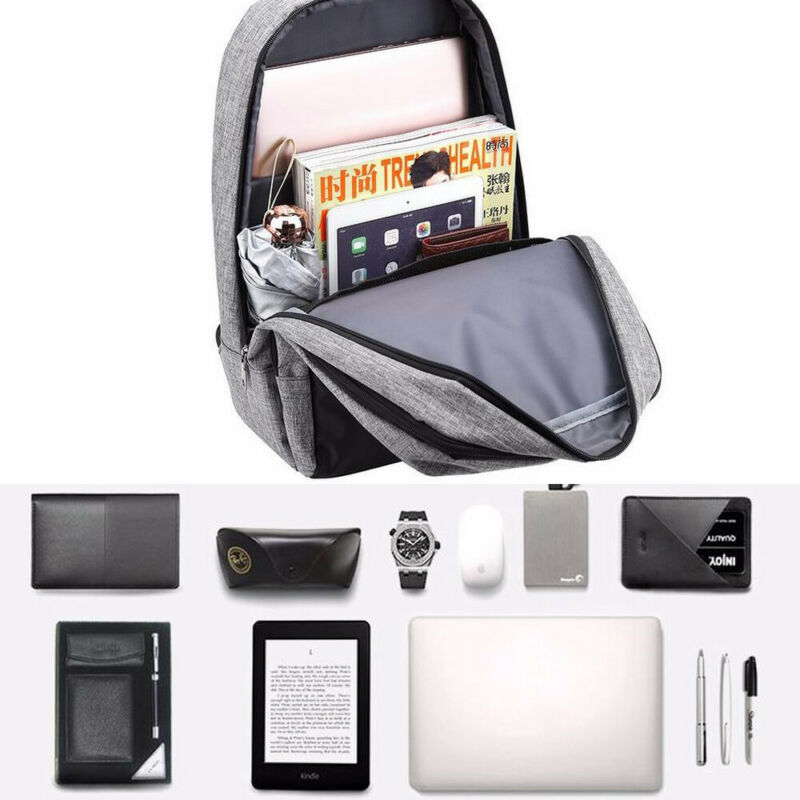 Anti-theft Men Womens Laptop Notebook Backpack+USB Charging Travel School Bag