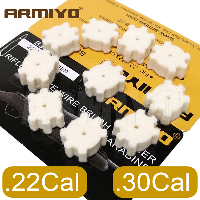 Armiyo .22Cal 5.56mm .30Cal 7.62mm Ar Chamber Mop Cleaning Pads Wool Felt Gun Brush Cleaning Kit Swabs Hunting Accessories