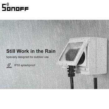 New Arrival SONOFF S55 WIFI Smart Waterproof Socket Wireless APP Control Home Socket EU France Standard AC100-240V
