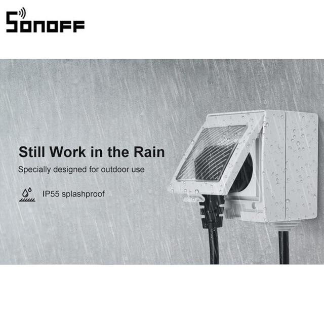 새로운 도착 SONOFF S55 WIFI 스마트 방수 소켓 무선 APP 제어 홈 소켓 EU 프랑스 표준 AC100 240V