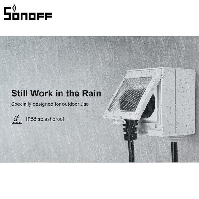 חדש הגעה SONOFF S55 WIFI חכם עמיד למים שקע אלחוטי APP בקרת בית שקע האיחוד האירופי צרפת סטנדרטי AC100 240V