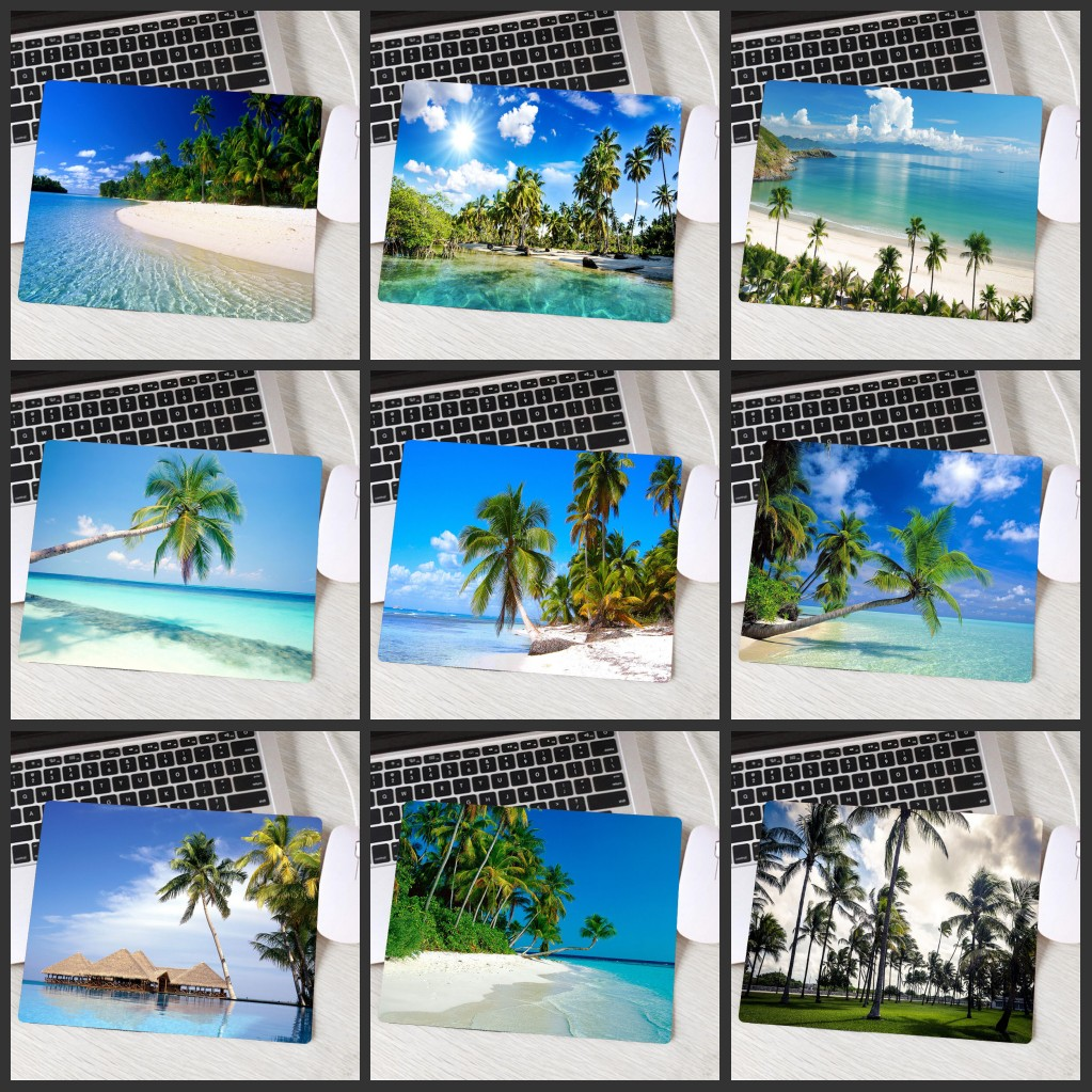 XGZ Beautiful Sun Beach Coconut Trees Landscape Popular Natural Rubber Washable Large Table Mat Notebook Computer Game Mouse Pad