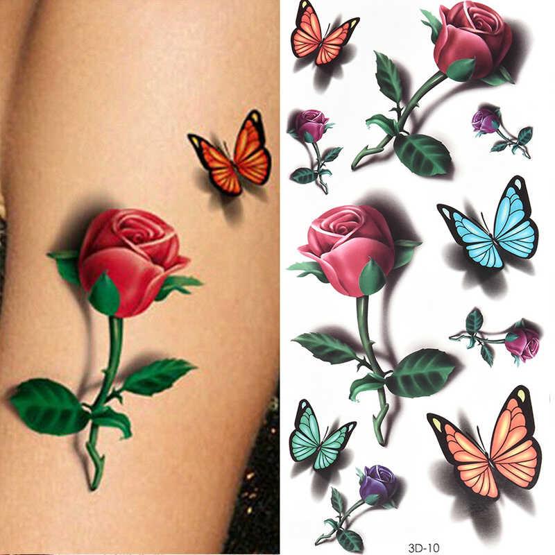 ชั่วคราวสติกเกอร์รอยสักสำหรับผู้หญิงBody Art Tattooสติกเกอร์3Dผีเสื้อRoseดอกไม้Feather Tattooกันน้ำฮาโลวีนของขวัญ