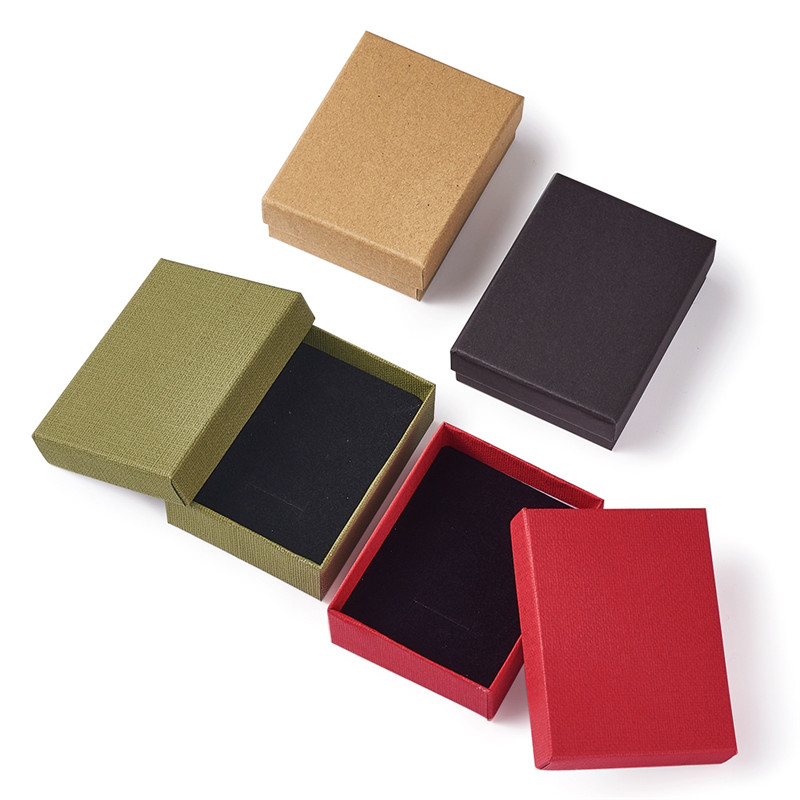 12pcs Cardboard Jewelry Box Packaging For Ring Necklace Bracelets Bangles Cases Boxes With Sponge Inside Rectangle Mult-Colour
