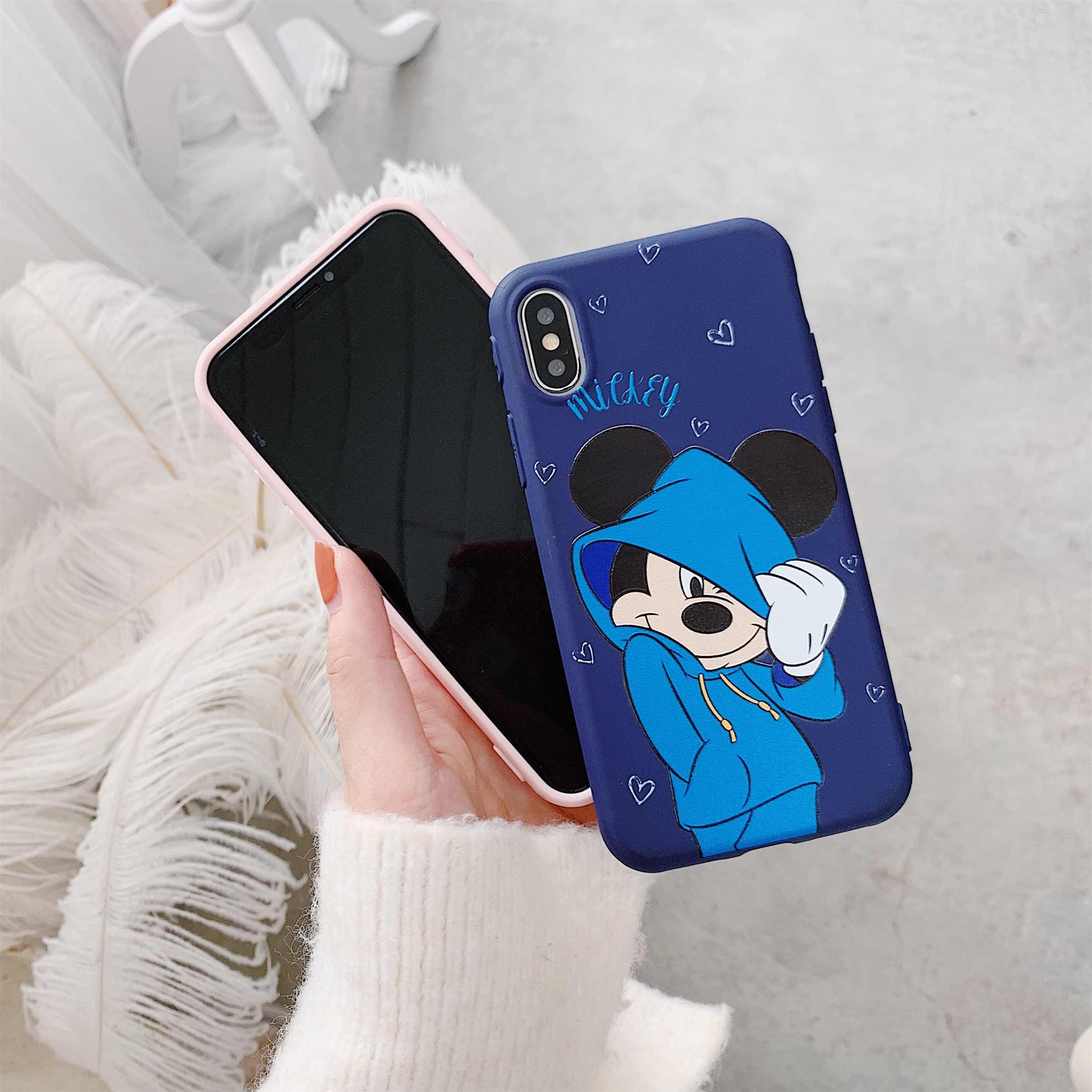 Para iphone X XR XS MAX cubierta para iphone XI 8C 11 6S 6 7 8 Plus marca tendencia funda para teléfono móvil con diseño de TPU Mickey Minnie