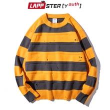 LAPPSTER-Youth Men Korean Stripe Winter Sweater 2020 Man Har
