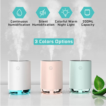 Mini USB Humidifiers 220ML Air Vaporizer Travel Home Car Humidifier Aromatherapy Mini Bottle Colorful LED Lights Aroma Diffuser